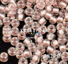 Бисер чешский 382PP светло-розовый прозрачный жемчужная линия внутри Preciosa 1 сорт