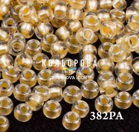 Бисер чешский 382PA персиковый прозрачный жемчужная линия внутри Preciosa 1 сорт