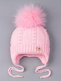 РБ 0022180 Шапка вязаная для девочки с помпоном на завязках, бусинки, на отвороте сердечко, светло-розовый