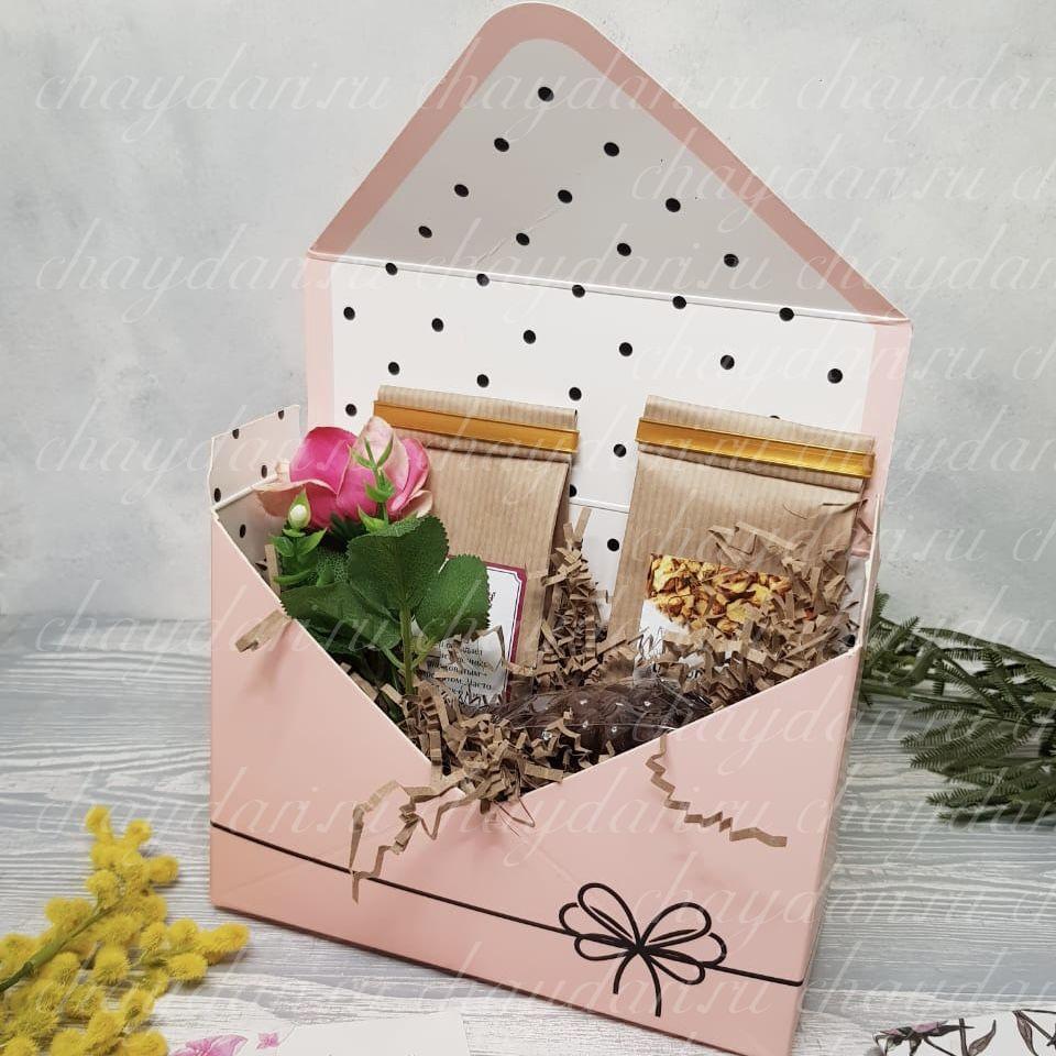 """Подарок из чая и сладостей   """"Конверт на 8 марта"""""""