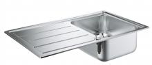 Кухонная мойка из нержавеющей стали с корзинчатым вентилем, оборачиваемая, 1 чаша, Grohe K500 31571 SD0 (31571SD0)