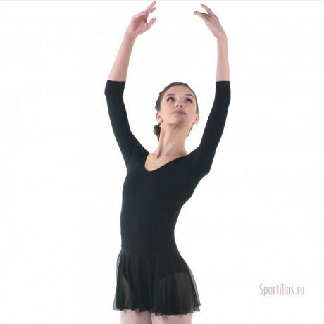 Купальник для гимнастики с юбкой черный