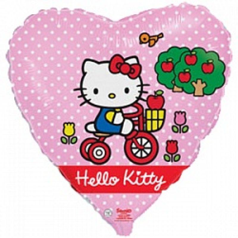 Китти на велосипеде сердечко шар фольгированный с гелием