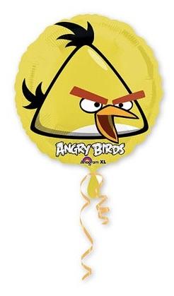Желтая птица круглый шар фольгированный с гелием