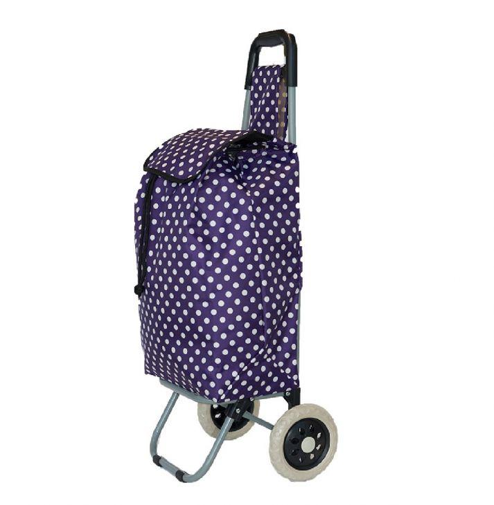 Сумка тележка хозяйственная фиолетовый/белый горох
