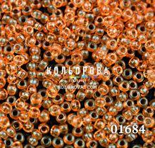 Бисер чешский 01684 оранжевый прозрачный блестящий Preciosa 1 сорт