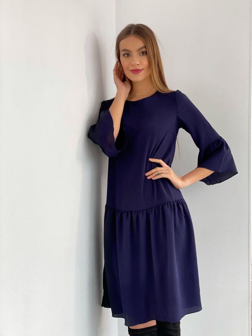 s3233 Платье с воланами тёмно-синее