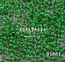 Бисер чешский 01661 зеленый прозрачный блестящий  Preciosa 1 сорт