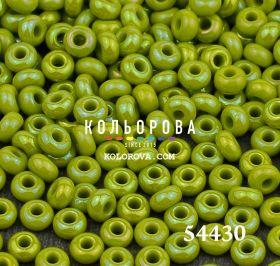 Бисер чешский 54430 зеленый оливковый непрозрачный радужный Preciosa 1 сорт