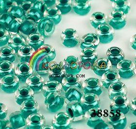Бисер чешский 38858 прозрачный бирюзовая линия внутри Preciosa 1 сорт