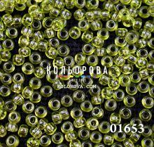 Бисер чешский 01653 салатовый прозрачный блестящий Preciosa 1 сорт