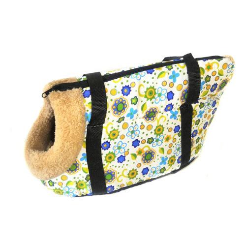 Сумка-переноска для собак с меховой отделкой Цветочный узор