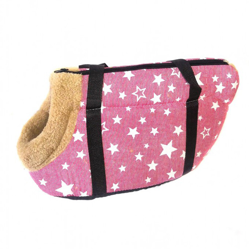 Сумка-переноска для собак с меховой отделкой Звездочки, Цвет Бледно-розовый