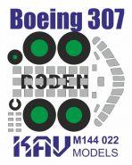 Окрасочная маска для модели Boeing 307 производства Roden (Маска для окраски остекления кабины и шас