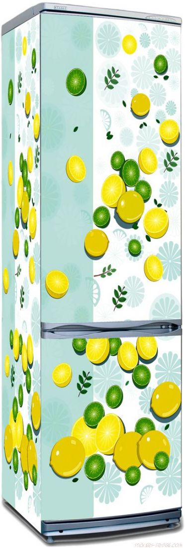 Наклейка на холодильник -  Лимон и лайм