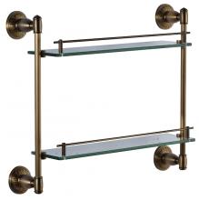 Полка  двойная стеклянная 40 см Savol S-006622C бронза