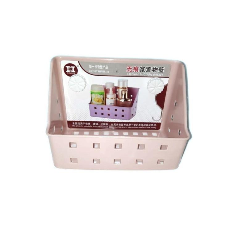 Полка для ванных принадлежностей на вакуумных присосках, Розовая