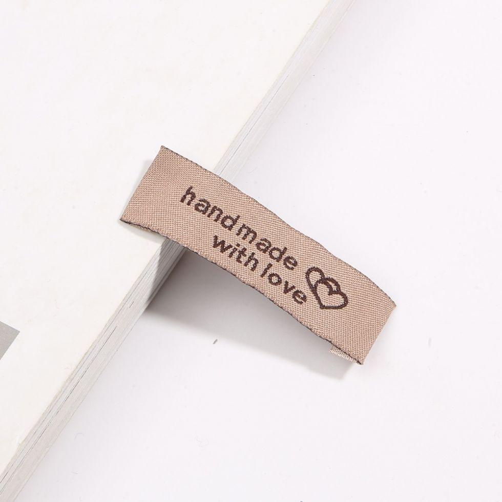 Бирка ярлык из ткани HAND MADE WITH LOVE (CS-01)