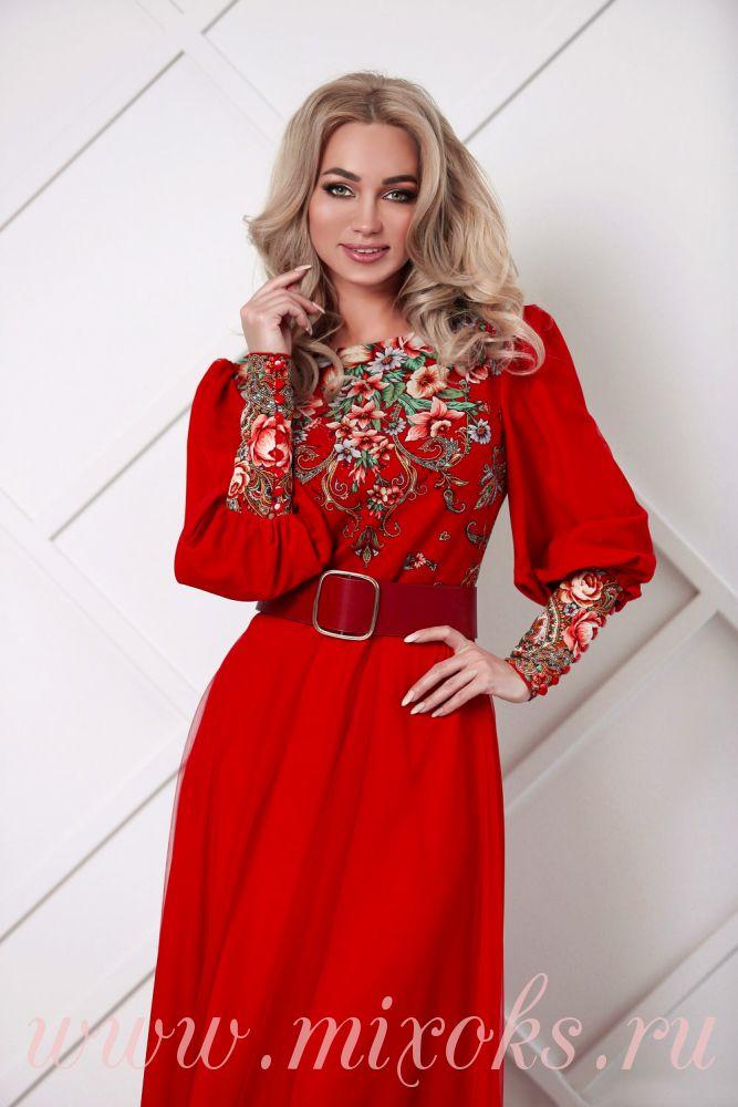 Платье красное вечернее с длинными рукавами