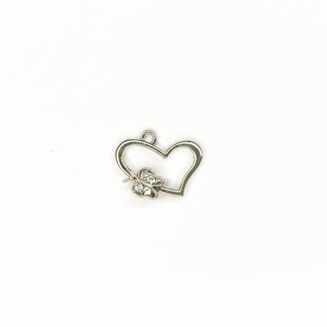 фото Подвеска (кулон/ шарм) Сердце с бабочкой со стразами из металла (ШМ40-СБС)