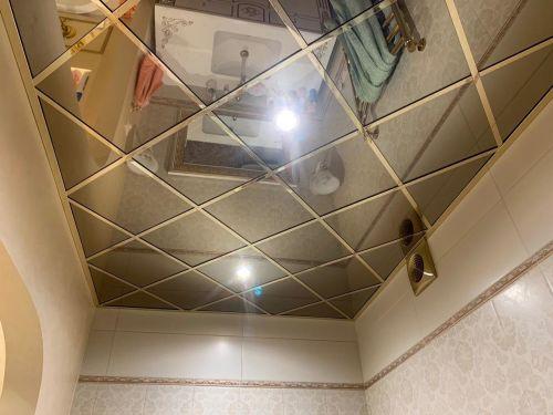 Зеркальный потолок бронза 30х30 см. без фацета