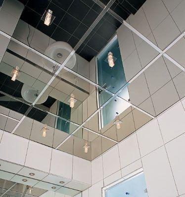 Зеркальный потолок титан 60х60 см. без фацета