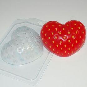 """Пластиковая форма для мыла и шоколада """"Клубничное сердце"""", арт. 1454"""