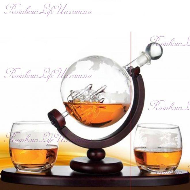 "Набор для виски со стаканами 850 мл ""Вокруг света"""