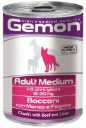 Gemon Dog Adult Medium Bocconi con Manzo e Fegato Консервы для собак средних пород с кусочками говядины и печенью (415 г)