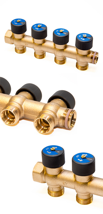 Гребенка для систем водоснабжения с функцией отключения 3/4*3/4 на 4 отвода OVENTRO