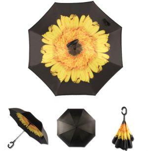 Зонт-наоборот антизонт с кнопкой Желтый цветок