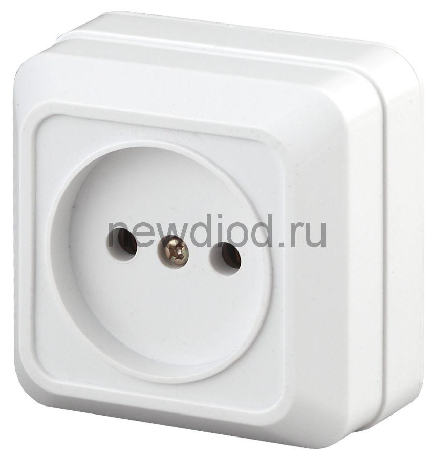 2-201-01 Intro Розетка 2P, 16А-250В, IP20, ОУ, Quadro, белый (10/200/3600)