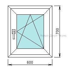 Окно ПВХ 600*700 мм   готовые окна