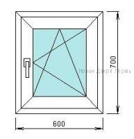 Готовое окно ПВХ 600*700 мм купить стандартных размеров в Перми