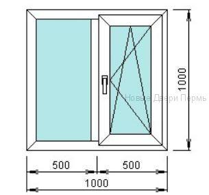 Окно ПВХ 1000*1000 мм одностворчатое готовые окна