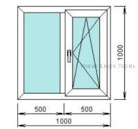 Готовое окно ПВХ 1000*1000 мм