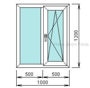 Окно ПВХ 1000*1200 мм одностворчатое готовые окна