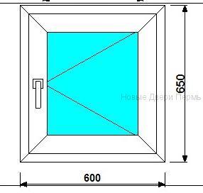 Окно ПВХ 600*650 мм   готовые окна