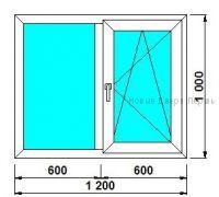 Окно ПВХ 1200*1000 мм одностворчатое готовые окна