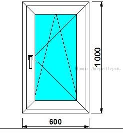 Окно ПВХ 600*1000 мм  Створка готовые окна