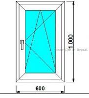 окно ПВХ 600*1000 мм