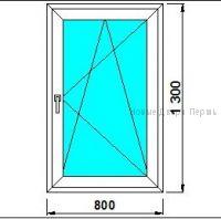Окно ПВХ 800*1300 мм  Створка готовые окна