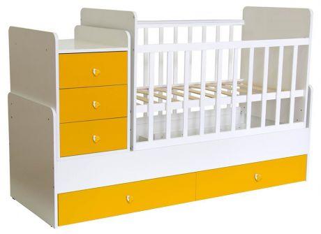 Кроватка детская Polini kids Simple 1111 с комодом белый-солнечный