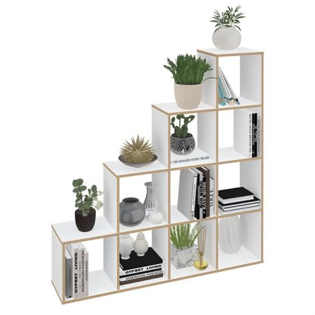 Стеллаж Polini Home Smart Каскадный 10 секций, белый, эффект фанеры