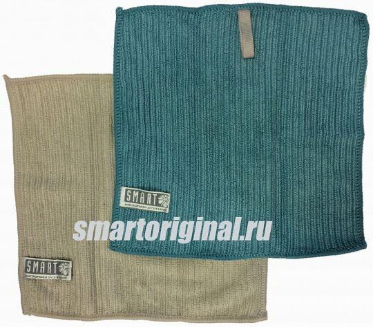 Smart Microfiber Салфетка ребристая 24 х 24 см серая/бирюза 2 шт.