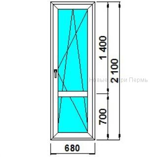 Дверь балконная 680*2100 мм