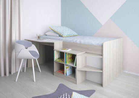 Кровать-чердак детская Polini kids Simple со столом и полками 4000
