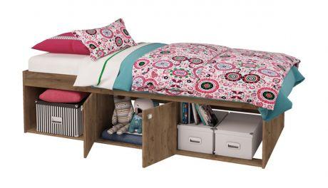 Кровать детская Polini kids Simple 3000 с нишами, дуб