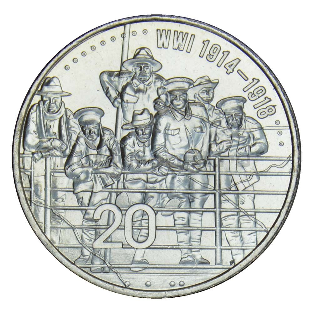 20 центов 2015 Австралия АНЗАК - ПМВ 1914-1918