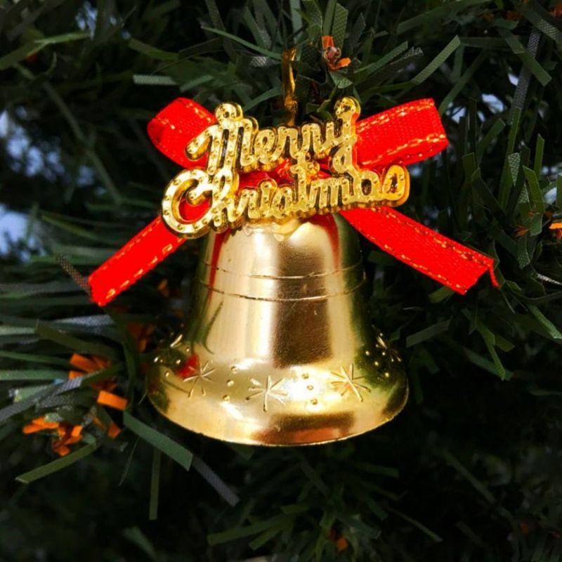 Золотые колокольчики с красным бантиком Merry Christmas, 6 шт